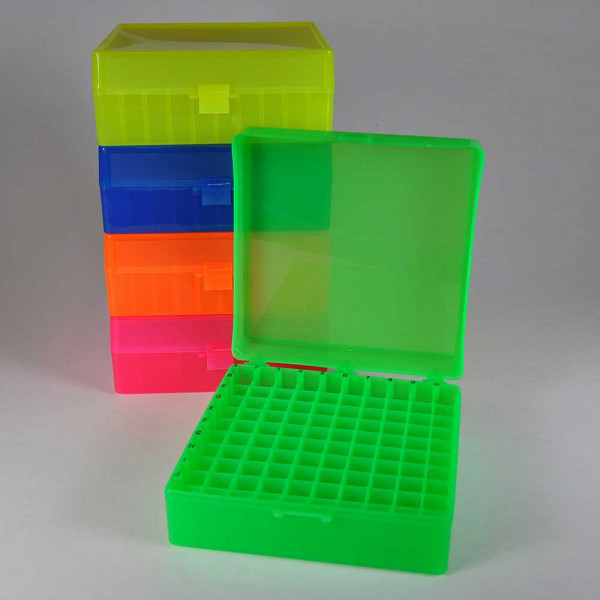 100 Position Microcentrifuge Tube Freezer Rack hinged lid Assorted