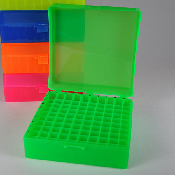 100 Position Microcentrifuge Tube Freezer Rack hinged lid Green