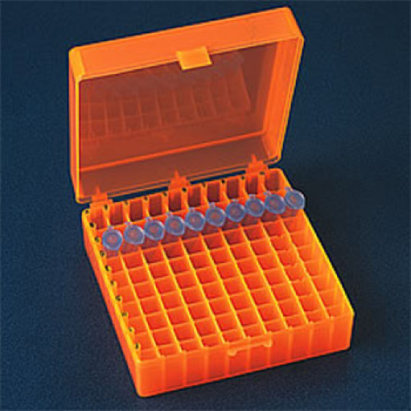 100 Position Microcentrifuge Tube Freezer Rack hinged lid Orange